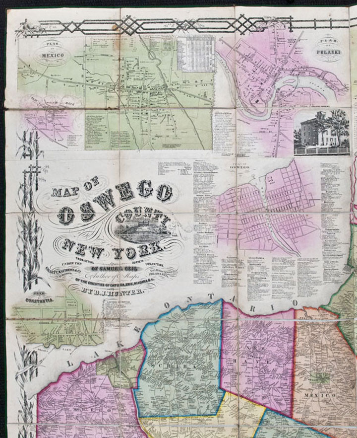 Map of Oswego County, New York, from actual surveys under the direction of Samuel Geil ... by B.J. Hunter. B. J. HUNTER.