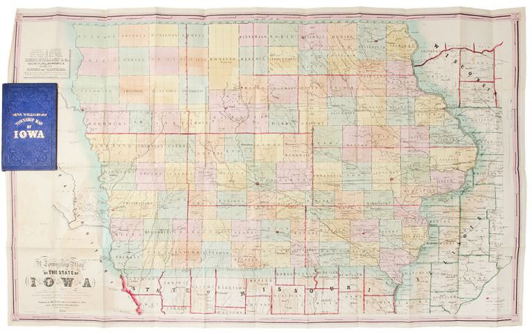 A Township Map of the State of Iowa Compiled from the United States Surveys, official information and personal reconnaissance, showing the streams, roads, towns, post offices, county seats, works of internal improvement, &c., &c. WILLIAMS IOWA - HENN, Co., R. BARNES, Co, publishers.