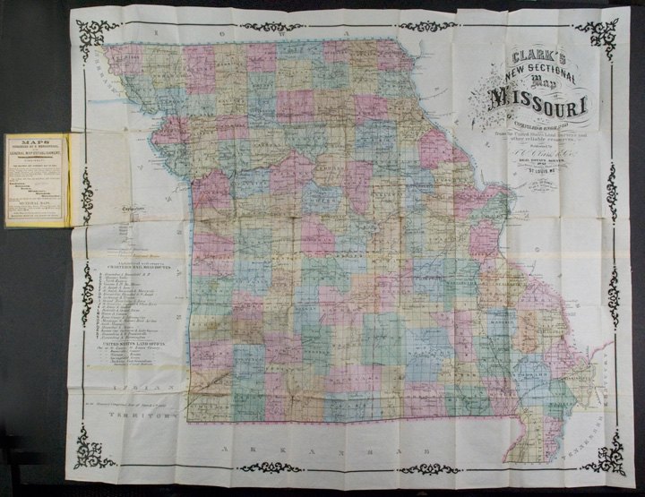 Clark's New Sectional Map of Missouri compiled & engraved from the United States land surveys and other reliable sources. J. C. MISSOURI - CLARK, Co.