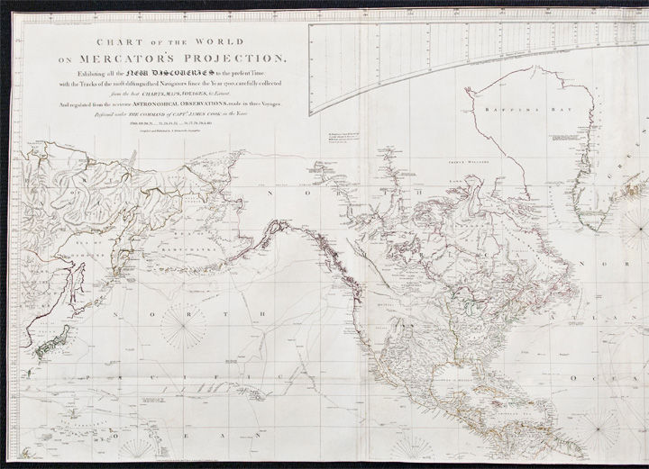 Chart of the World on Mercator's Projection Exhibiting all the New Discoveries to the present Time: with the Tracks of the most distinguished Navigators since the Year 1700, carefully collected from the best Charts, Maps, Voyages &c. Extant ... And regulated from the accurate Astronomical Observations, made in three Voyages Perform'd under the Command of Capt. James Cook. Aaron ARROWSMITH.