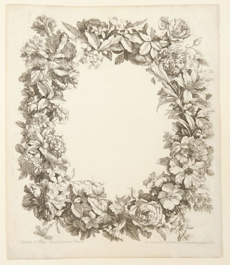 Album Of 17 Engraved Plates Of Bouquets Of Flowers In Vases Baskets
