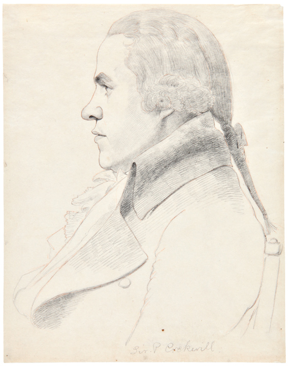 [Two Pencil Sketches by William Daniell, after Architect George Dance, showing the artists William Hodges and Samuel Pepys Cockerell]. William DANIELL.