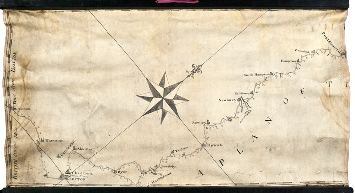 [Manuscript map on vellum surveying the road from Boston to Penobscot Bay, Maine, titled on the map:] A Plan of the Road From Boston to Penobscott Bay. Sir Francis BERNARD, surveyor Francis MILLER.