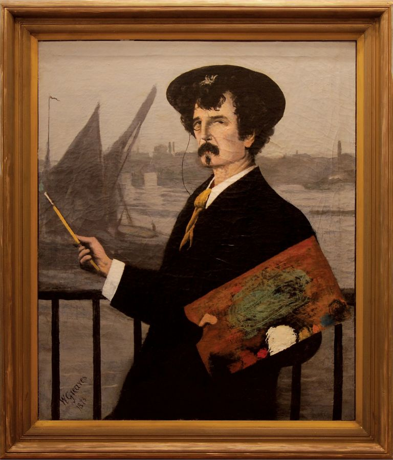 [Portrait of James Abbott McNeill Whistler in front of the Thames]. Walter GREAVES, British.