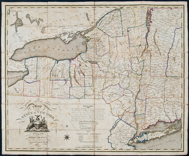 Map of the State of New York by Simeon De Witt Surveyor General Contracted from his large Map of the State. Simeon DE WITT.