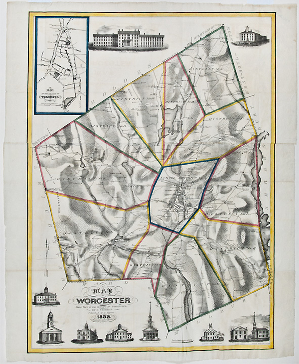 A Map of Worcester Shire Town of the County of Worcester Heman S