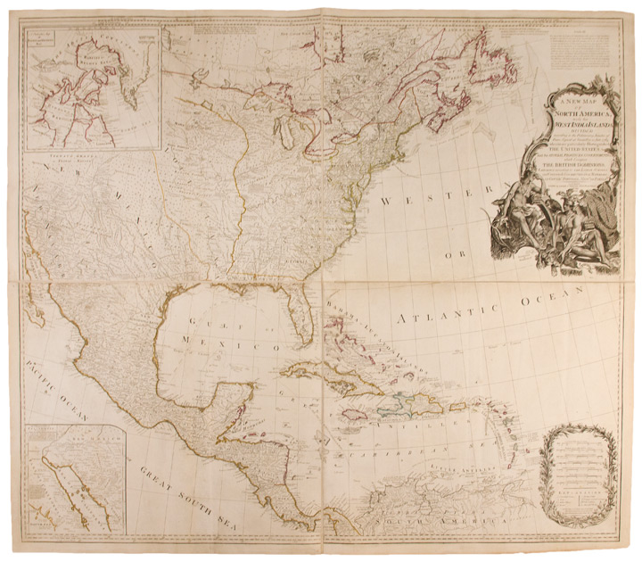A New Map of North America, with the West India Islands. Divided according to the preliminary articles of peace, signed at Versailles, 20, Jan. 1783. wherein are particularly distinguished the United States, and the several provinces, governments &ca which compose the British Dominions; laid down according to the latest surveys, and corrected from the original materials, of Goverr. Pownall, Member of Parliamt. Emanuel BOWEN, John GIBSON, - Robert LAURIE, publishers James WHITTLE, c., fl., d.1818.