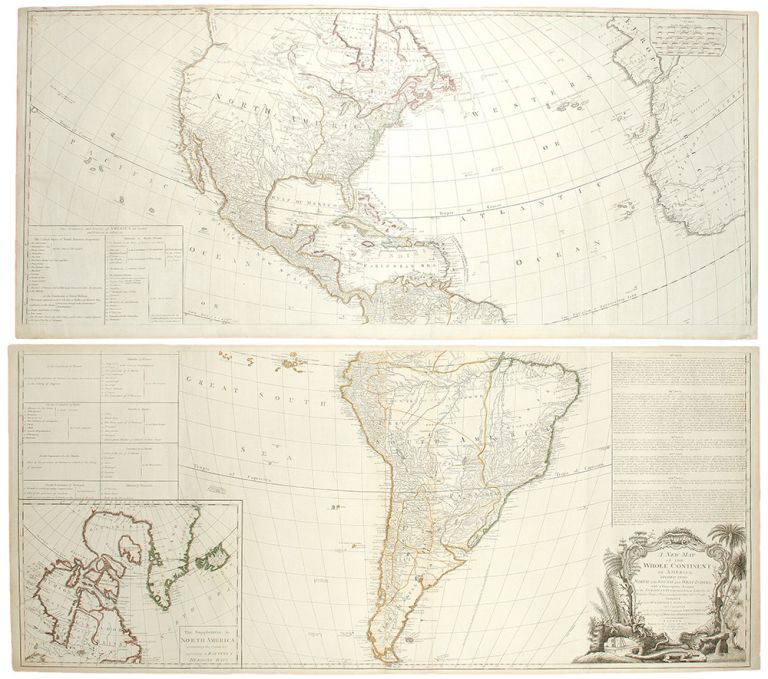 A New Map of the Whole Continent of America, divided into North and South America and West Indies, with a Descriptive Account of the European Possessions, as Settled by the Definitive Treaty of Peace, Concluded at Paris, Feby. 10th, 1763, Compiled from Mr. D'Anville's Maps of that Continent, and Corrected in the Several Parts belonging to Great Britain, from the Original Materials of Governor Pownall, MP. John GIBSON, publisher - Robert SAYER.