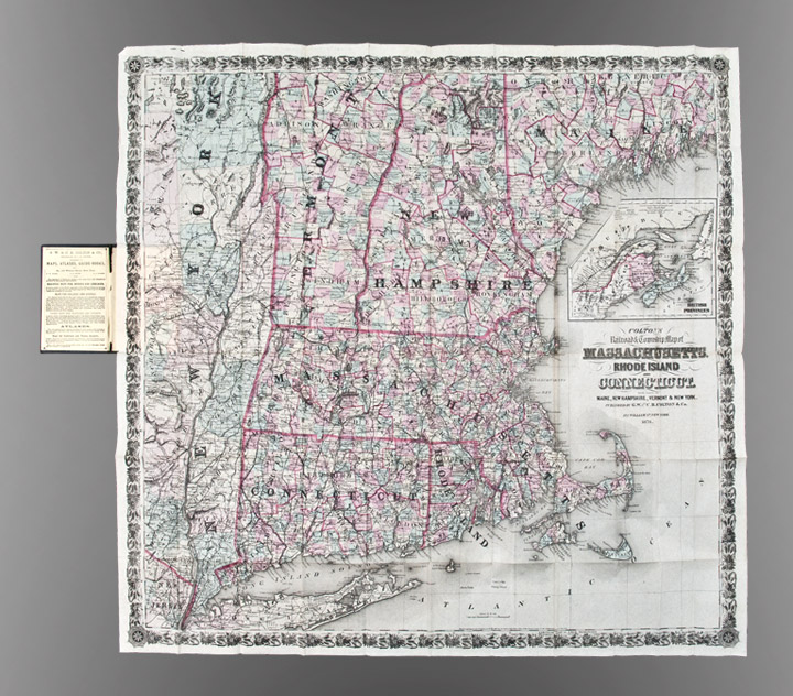 Colton\'s Railroad & Township Map of Massachusetts, Rhode Island,  Connecticut with parts of Maine, New Hampshire, Vermont & New York by  George W. ...