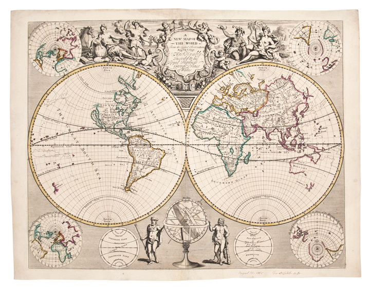 The New Map Of The World.A New Map Of The World From The Latest Observations By John Senex On Donald A Heald Rare Books
