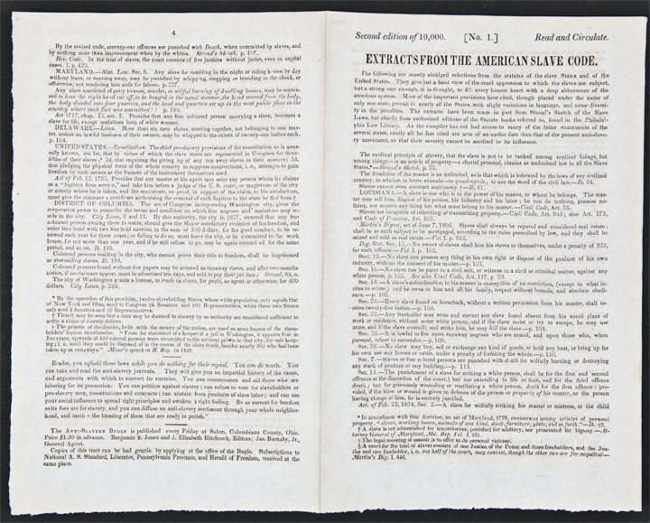 Extracts from the American Slave Code [caption title]. SLAVERY.