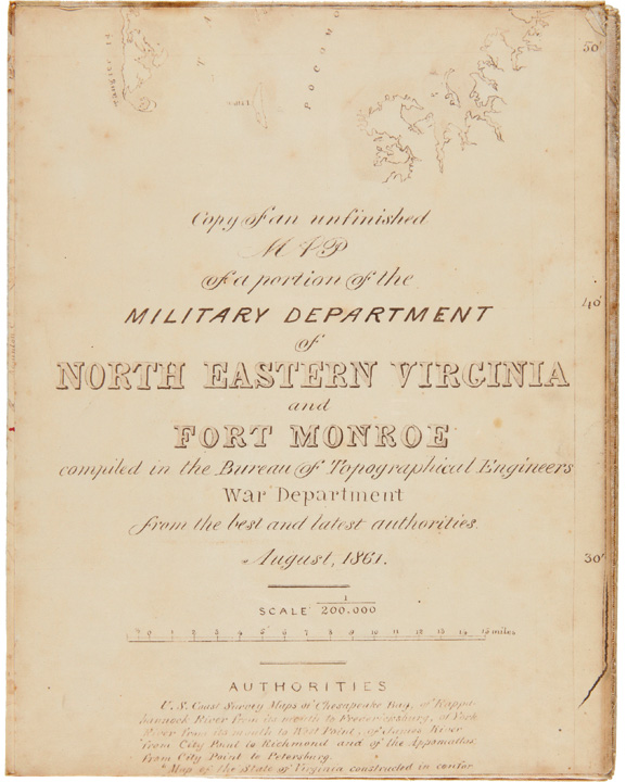 Copy of an Unfinished Map of a Portion of the Military Department of North Eastern Virginia and Fort Monroe compiled in the Bureau of Topographical Engineers War Department from the best and latest authorities. CIVIL WAR, Amiel Weeks WHIPPLE.