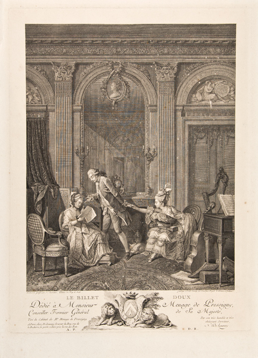 Le Billet Doux. Nicolas after Nicolas LAVREINCE DE LAUNAY.