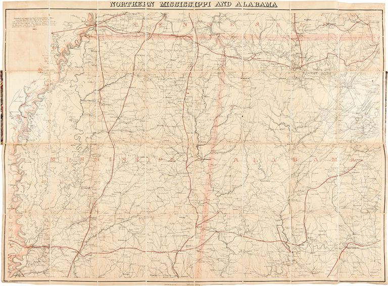 Northern Mississippi and Alabama. CIVIL WAR, Adolph - LINDENKOHL.