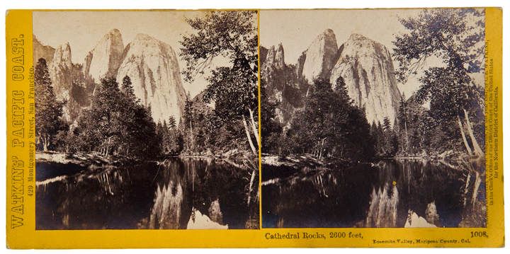 [Collection of 56 stereoscopic photographic views from Watkins' Pacific Coast series, principally depicting scenes in Yosemite]. Carleton E. WATKINS, photographer.
