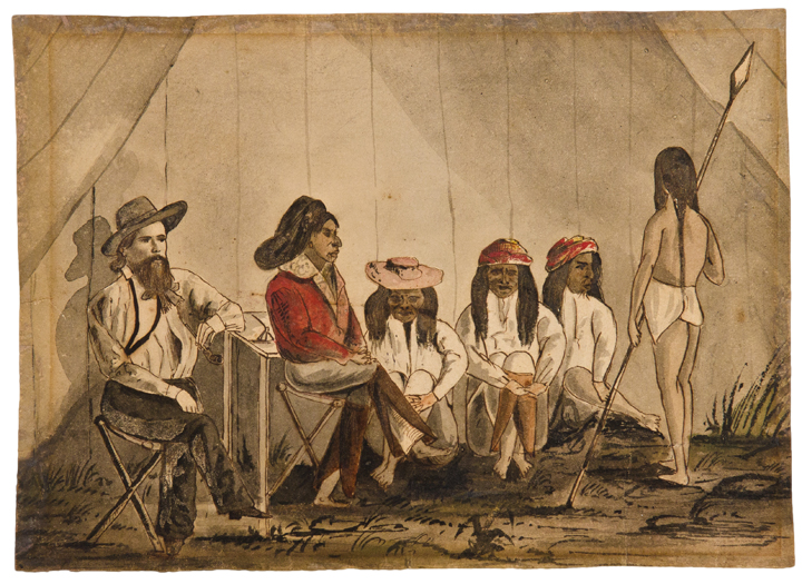 [Collection of five original watercolors of Pima Indians and their lands in Aravaipa Canyon, Arizona, made by Forty-niner Robert Hart on his journey to the California gold fields]. Robert Benjamin HART, b.1834.