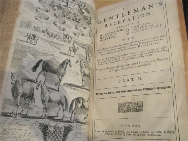 The Gentleman's Recreations ... The Whole Illustrated withs near an hundred Copper-Cuts relating to the several Subjects, particularly all Sorts of Nets, Engines, Traps, &c. are added for the Taking of Wild-Beasts, Fowl, Fish &c ... The Second Edition Corrected. Richard BLOME, Nicholas COX.