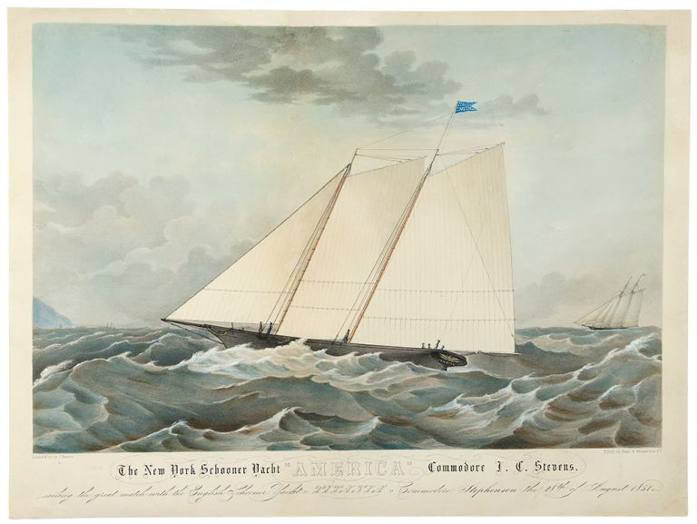 "The New York Schooner Yacht ""America"" Commodore J. C. Stevens, sailing the great match with the English Schooner Yacht Titania Commodore Stephenson the 28th August 1851. artist, lithographer, J. HANSON, - NAGEL, WEINGAERTNER, printers, or Hansen?"