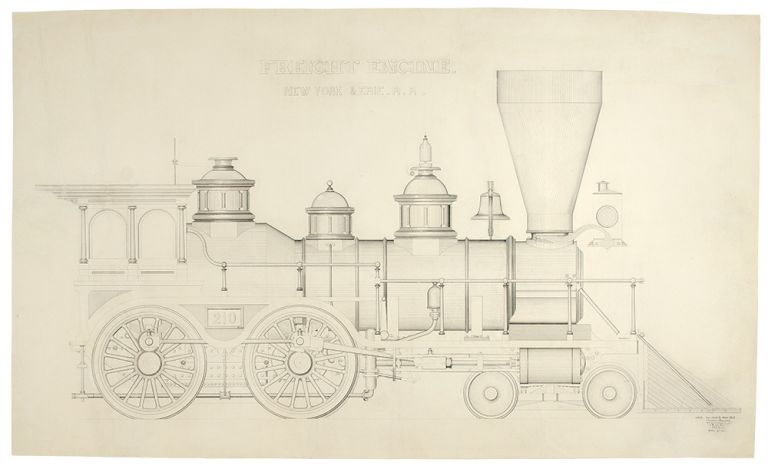 Freight Engine. New York & Erie R.R. An original drawing. Theodore KRAUSCH, 19th century.