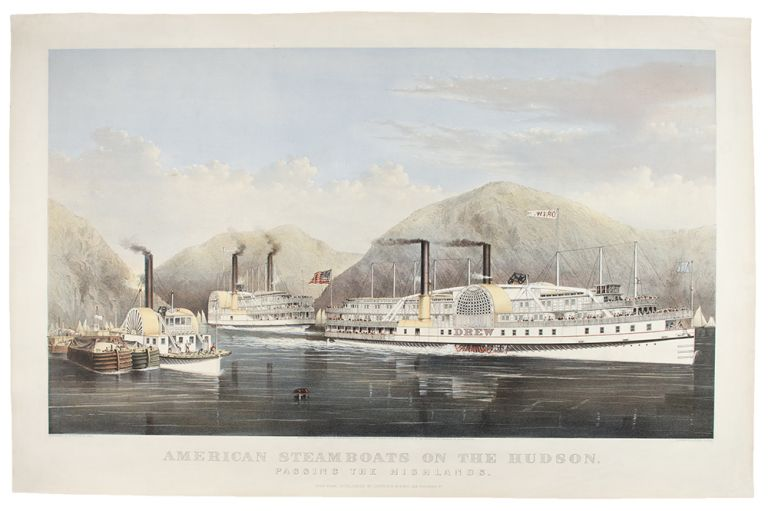 American Steamboats on the Hudson, passing the Highlands. CURRIER, pub IVES.