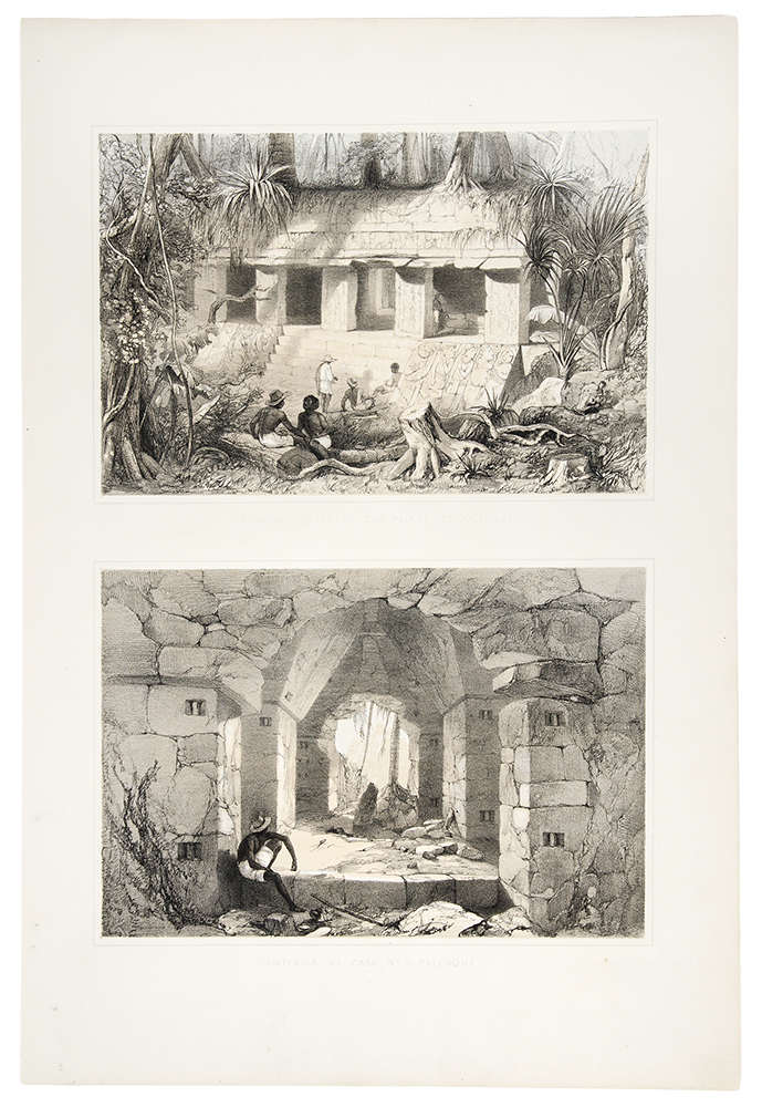 Principal court of the palace at Palenque / Interior of Casa, No. 3 Palenque. Frederick CATHERWOOD.