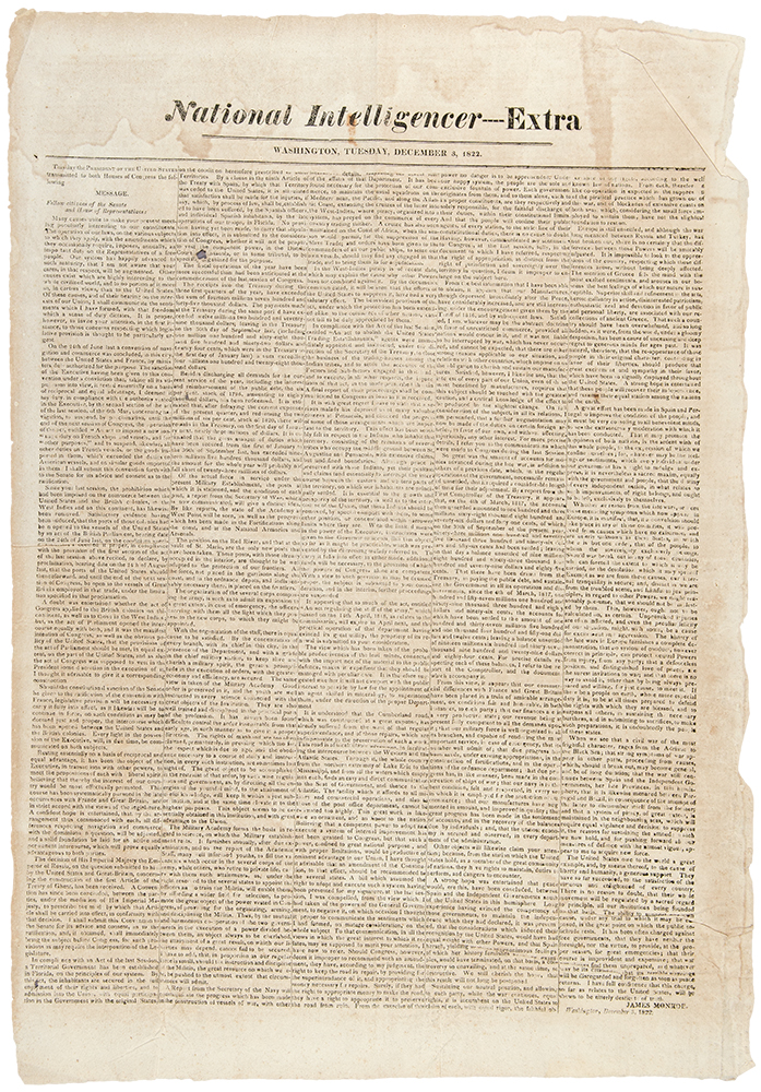 National Intelligencer ---- Extra ... This day the President of the United States transmitted to both Houses of Congress the following Message. James MONROE.