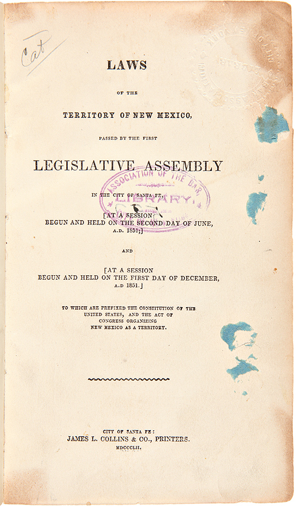 [Consecutive run of the printings of the first through seventh Legislative Assemblies of the Territory of New Mexico]. NEW MEXICO TERRITORY.