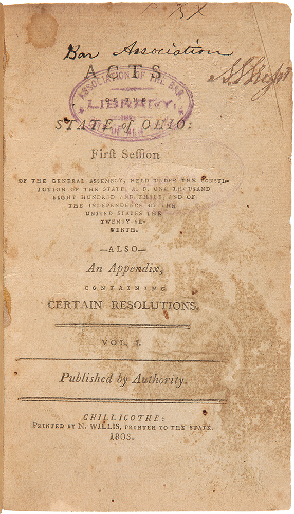 [Consecutive Run of the First Fourteen Session Laws of the General Assembly of the State of Ohio, 1803 - 1816]. OHIO LAWS.