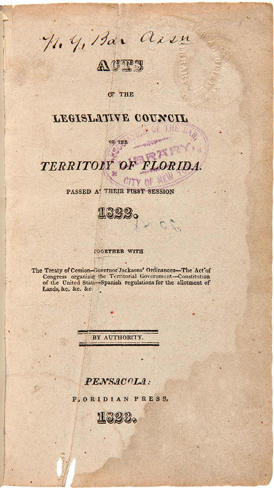 [Complete Set of the First Eleven Session Laws of the Legislative Council of the Florida Territory, 1822 - 1833]. FLORIDA LAWS.
