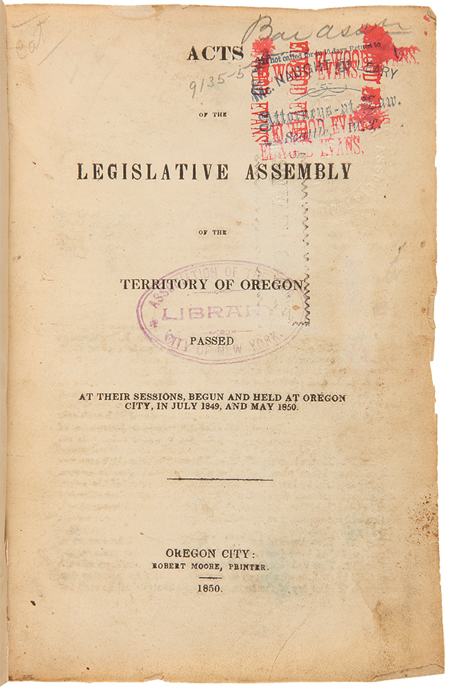 [Vast Collection of General and Special Laws of the Oregon Territory and the State of Oregon, and Related Works, 1850 - 1870]. OREGON.
