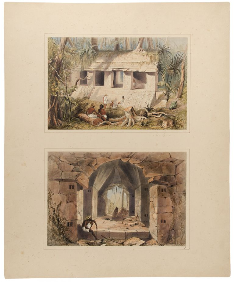 Principal Court of the Palace at Palenque [upper subject]; Interior of Casa No. III., at Palenque [lower subject]. Frederick CATHERWOOD.