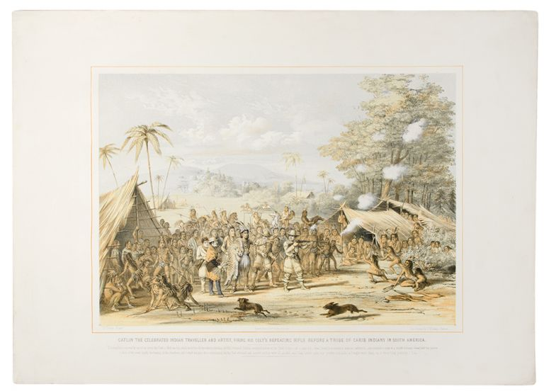 {rtf1ansideff0{fonttbl {f0fswiss MS Sans Serif;}}pardf0fs20 Catlin the celebrated Indian traveller and artist, firing his Colt's Repeating Rifle before a tribe of Carib Indians in South America.}. George CATLIN.