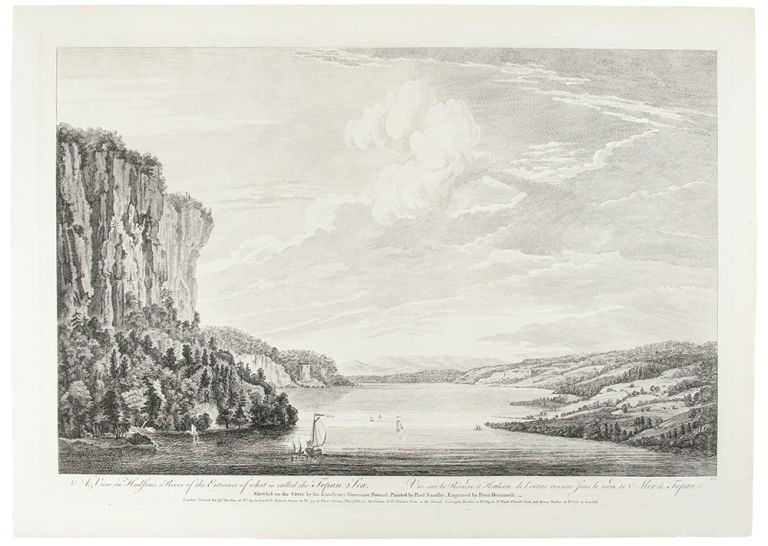 A view in Hudson's River of the Entrance of what is called the Topan Sea. Vue sur la Riviere d'Hudson, de l'entree counue sous le nom de Mer de Topan. Sketch'd on the SPOT by his Excellency Governor Pownal, Painted by Paul Sandby, Engraved by Peter Benazech. After Thomas POWNALL.