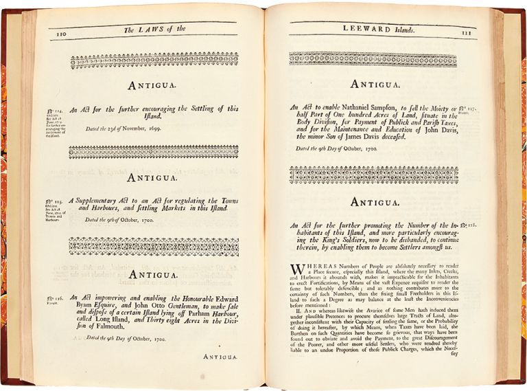 Acts of Assembly, Passed in the Charibbee Leeward Islands. from 1690, to 1730. LEEWARD ISLANDS.