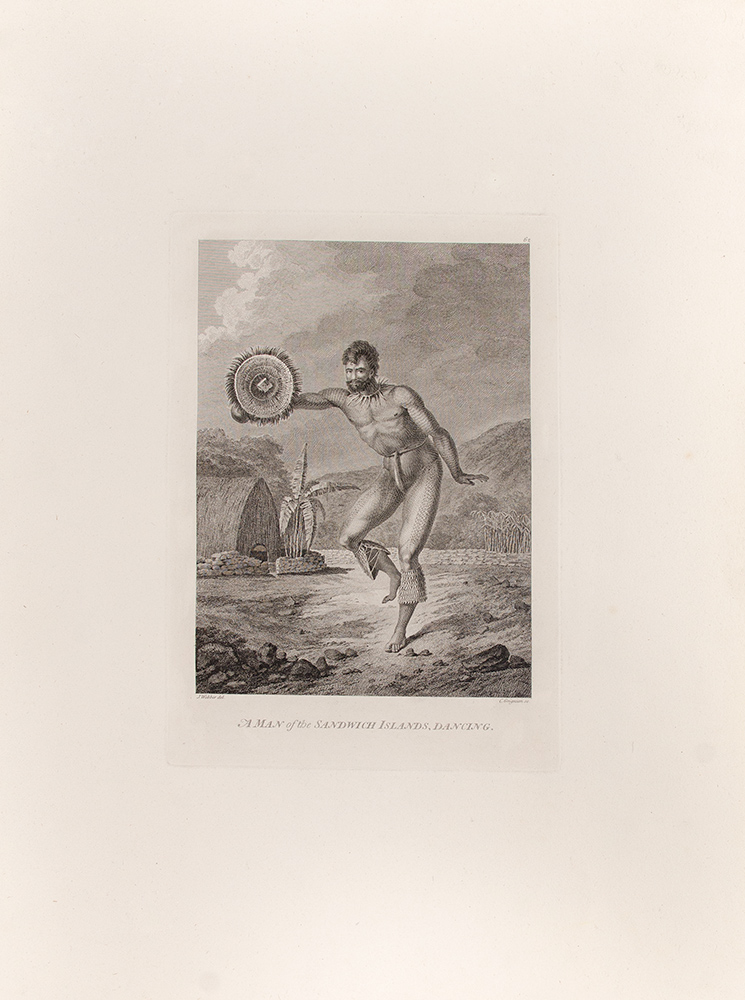 A Man of the Sandwich Islands, Dancing. CAPTAIN COOK'S THIRD VOYAGE, John WEBBER, artist.