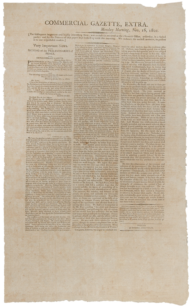 Commercial Gazette, Extra. Monday Morning, Nov. 16, 1801 ... Very Important News. Signing of the Preliminaries of Peace. FRENCH REVOLUTIONARY WARS.