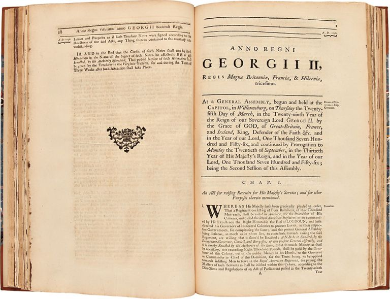 [A remarkable collection of Colonial Virginia laws and imprints covering the years 1748 to 1763]. VIRGINIA.