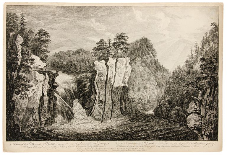 A View of the Falls on the Passaick, or second River, on the Province of New Jersey, The height of the Fall between Eighty and Ninety feet, the River about Eighty Yards broad. Vue de la Cataracte du Passaick, ou second Riviere, dans la province du Nouveau Jersey. La Hauteur de cette Chute est de 80 á 90 pieds, et la Largeur de la Riviere d'environ 40 Toises. Sketch'd on the Spot by his Excellency Governor Pownal. Painted and Engraved by Paul Sandby. After Thomas POWNALL.