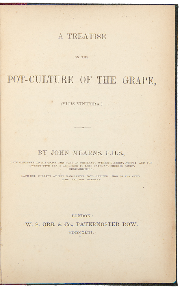 A Treatise on the Pot-Culture of the Grape. John MEARNS.