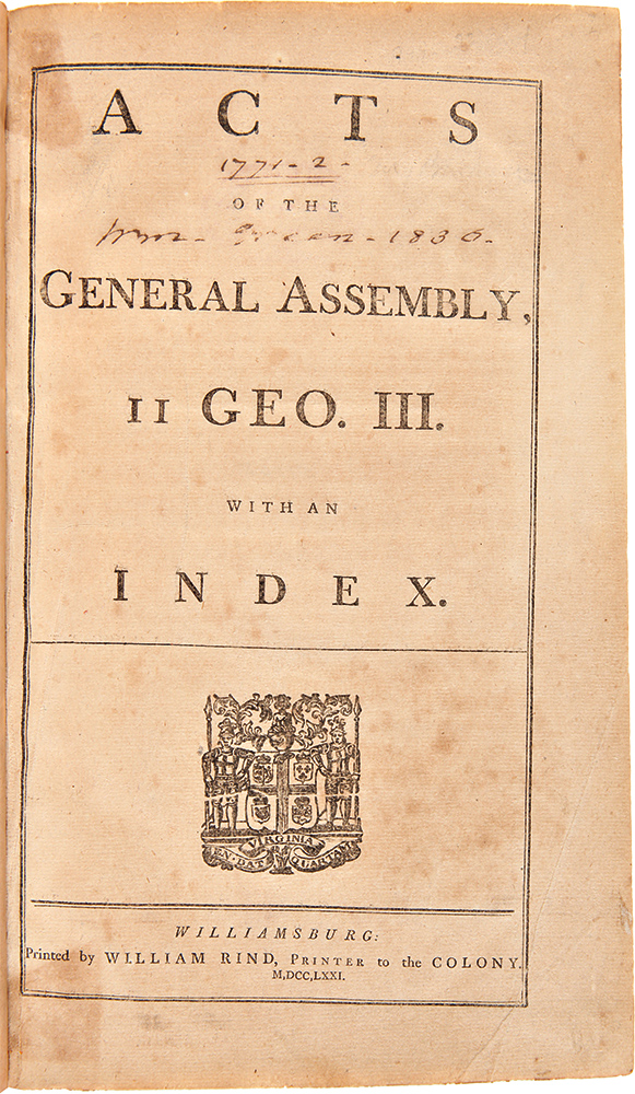 Acts of the General Assembly, II Geo. III. With an Index ... [bound with:] Acts of the General Assembly, 12 Geo. III. With an index. VIRGINIA.