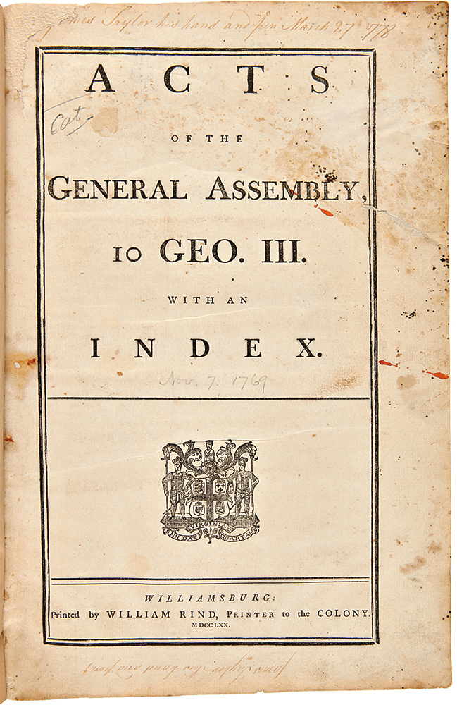 Acts of the General Assembly, 10 Geo. III, with an Index. VIRGINIA LAWS.