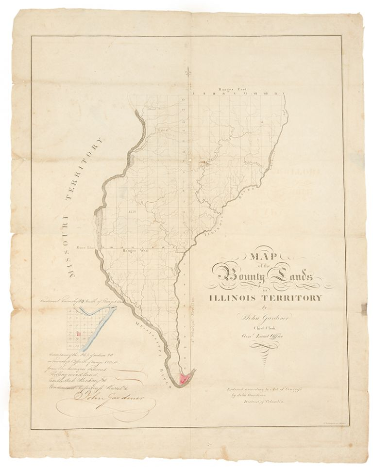 Map of the Bounty Lands in Illinois Territory. John GARDINER, d. 1839.