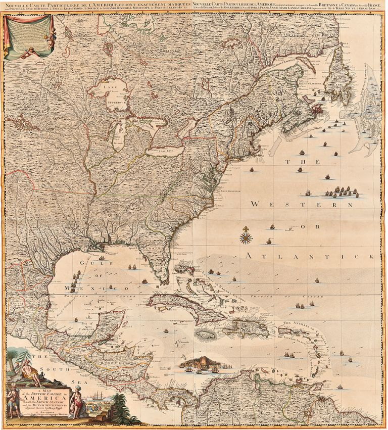 A Map of the British Empire in America with the French, Spanish and the Dutch Settlements adjacent thereto. Henry POPPLE, d.1743.
