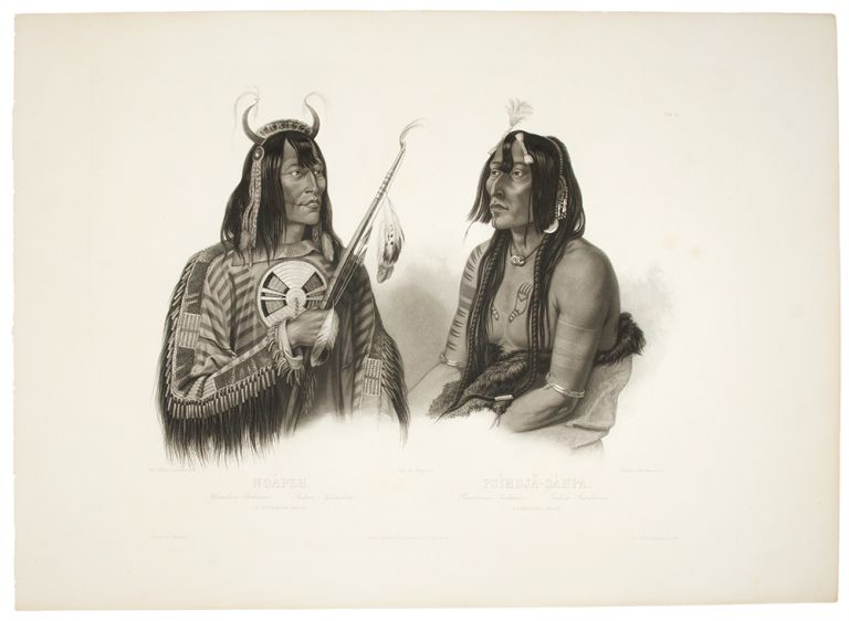 Noápeh, An Assiniboin Indian; Psíhdjä-Sáhpa, A Yanktonan Indian. Karl BODMER.
