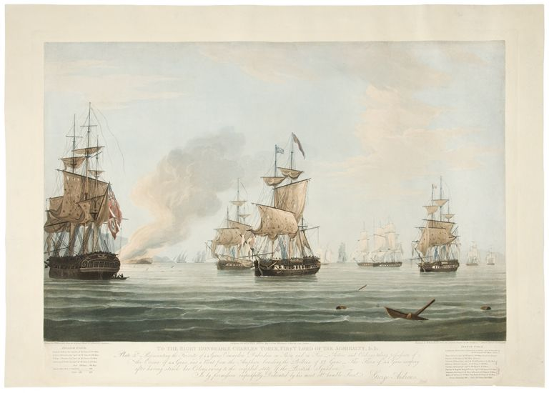 To the Right Honorable Charles Yorke, First Lord of the Admiralty, &c. &c. Plate 2nd. Representing the British Line after Wearing to renew the Action, Starboard division of the Enemy passing under the Amphion's Stern and raking her Larboard division hawling to the Wind on the laboard Tack, engaging the Gerberus, Active and Volage ... [With:] To the Right Honorable Charles Yorke, First Lord of the Admiralty, &c. &c. Plate 3rd. Representing the Favorite of 44 Guns, Commodore Dubordieu on Shore and on Fire_ Active and Cerberus taking possession of the Corona of 44 Guns, and a Boat from the Amphion boarding the Bellona of 32 Guns_ The Flora of 44 Guns escaping after having struck her Colours owing to the crippled state of the British Squadron. T. WHITCOMBE, engraver D. HAVELL, R, R.