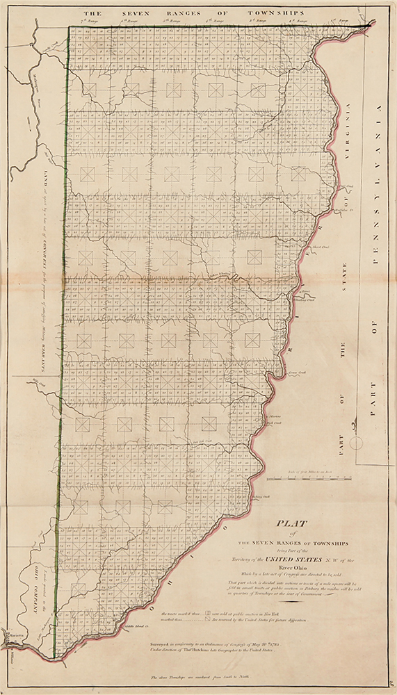 Plat of the Seven Ranges of Townships being part of the Territory of the United States N.W. of the River Ohio which by a late Act of Congress are directed to be sold. OHIO.