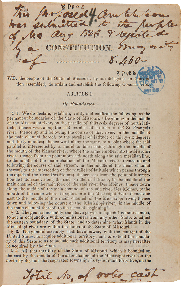 Constitution of the State of Missouri; Made in Convention, at the City of Jefferson, A.D. 1845 [cover title]. MISSOURI.
