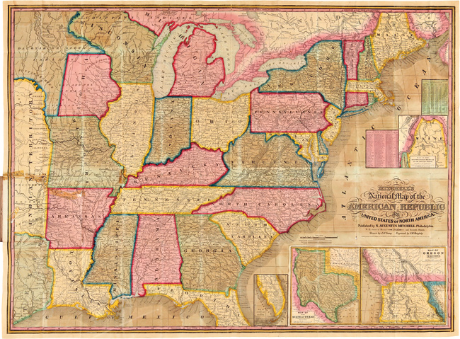 A Route-Book, Adapted to Mitchell's National Map of the American Republic; Comprising Tables of the Principal Rail-Road, Steam-Boat and Stage Routes, Throughout the United States. Samuel A. MITCHELL.