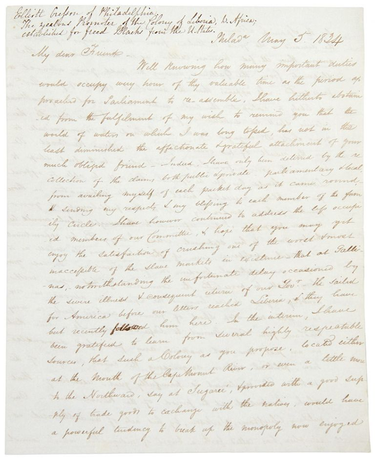 Autograph letter signed to Member of Parliament Benjamin Hawes, concerning the Spanish slave market in Sierra Leone and the colony at Liberia. Elliott SLAVERY - CRESSON.