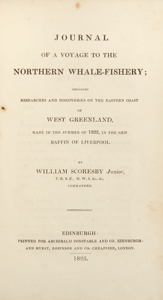 Journal of a Voyage to the Northern Whale-Fishery. William SCORESBY Jr.